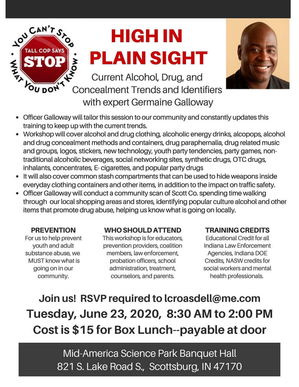 Tall Cop High in Plain Sight Training Session Flyer